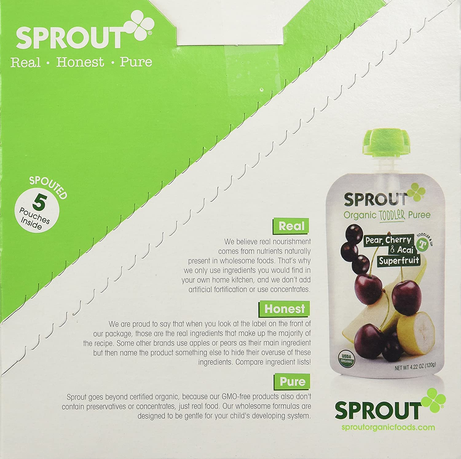 Sprout Toddler Puree, Pear, Cherry & Acai Super Fruit, 4.22 oz(Pack of 5)