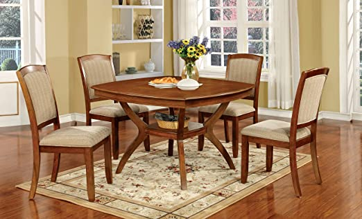 Furniture of America Dakota 5-Piece Transitional Dining Set, Oak