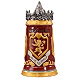 Game of Thrones House Lannister Stein - 22 Ounces Ceramic Base with Pewter Baratheon Crown Top (Color: Lannister)