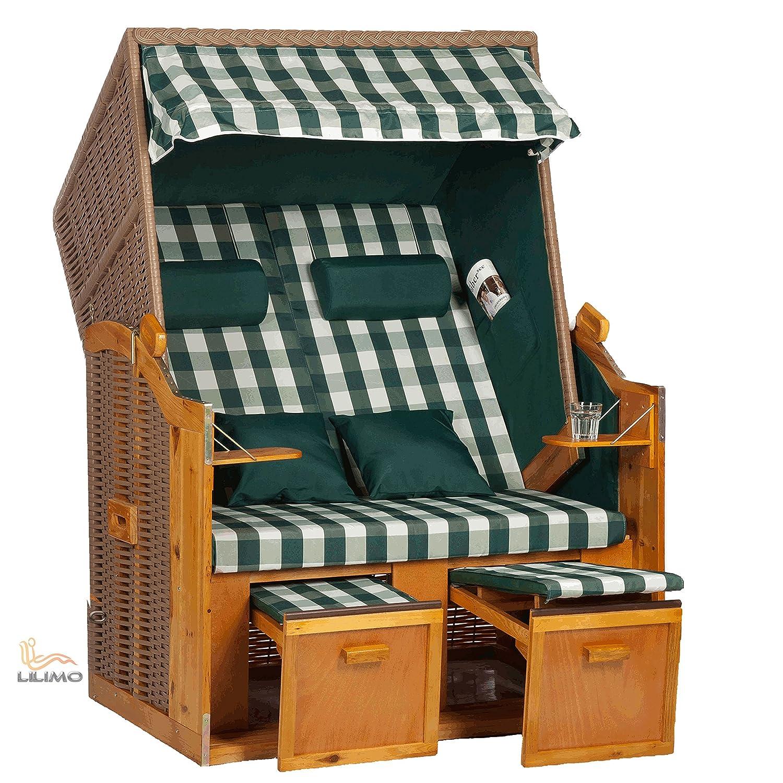 Strandkorb Ostsee grün, Geflecht natur, Variante B fertig montiert, LILIMO ® online kaufen