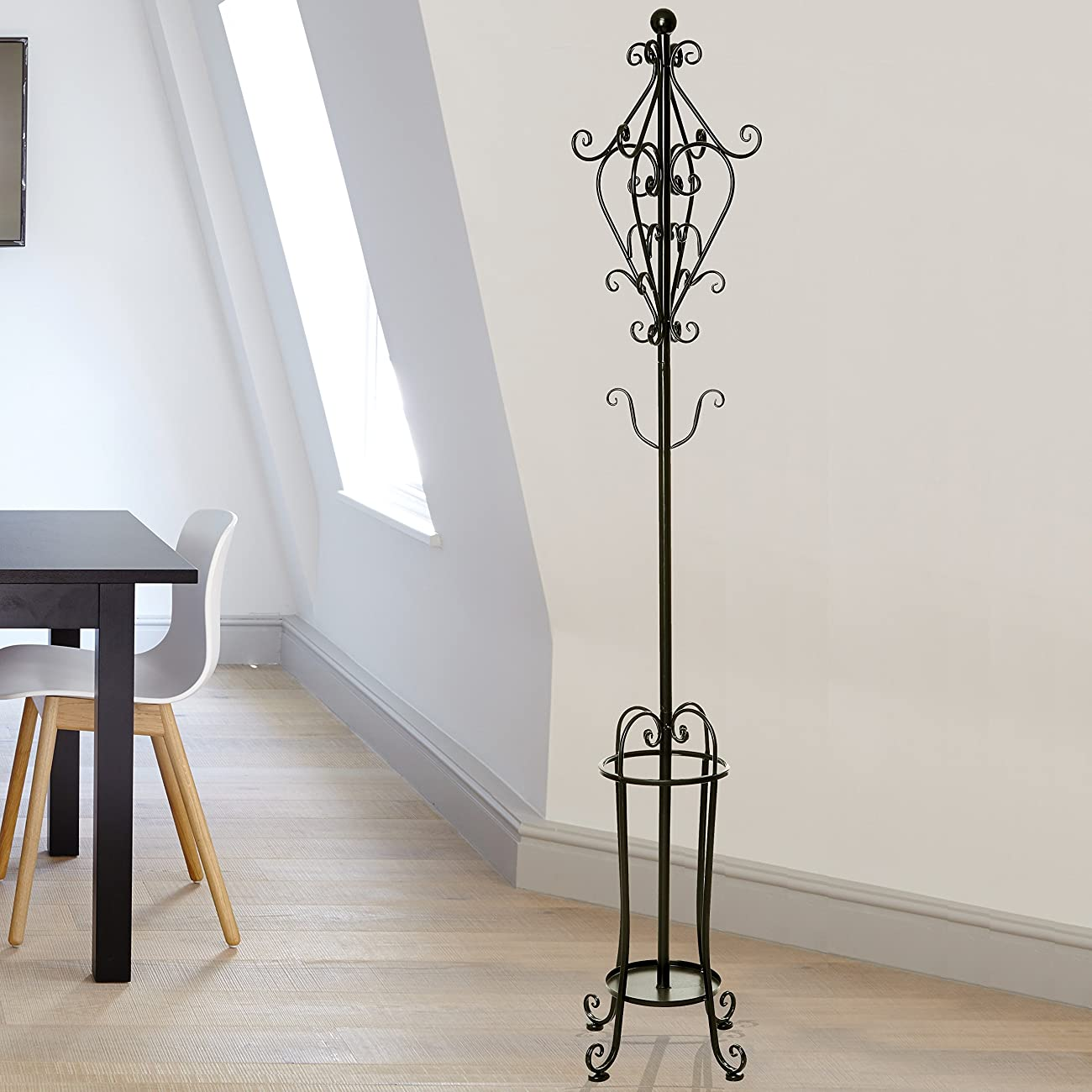 6' Freestanding Vintage Victorian Black Metal Scrollwork Coat Rack / Hat Hook Stand with Umbrella Holder 1