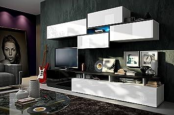 RICKY Moderno Mueble de Salón Comedor, Juego De Muebles de salón (Blanco&Negro AB frente, Mueble)