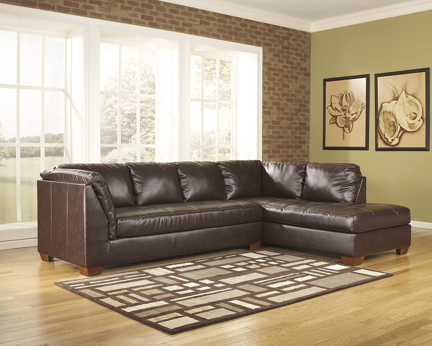 Contemporary Mahogany DuraBlend Match Upholstery Sofa Sectional With LAF Chaise