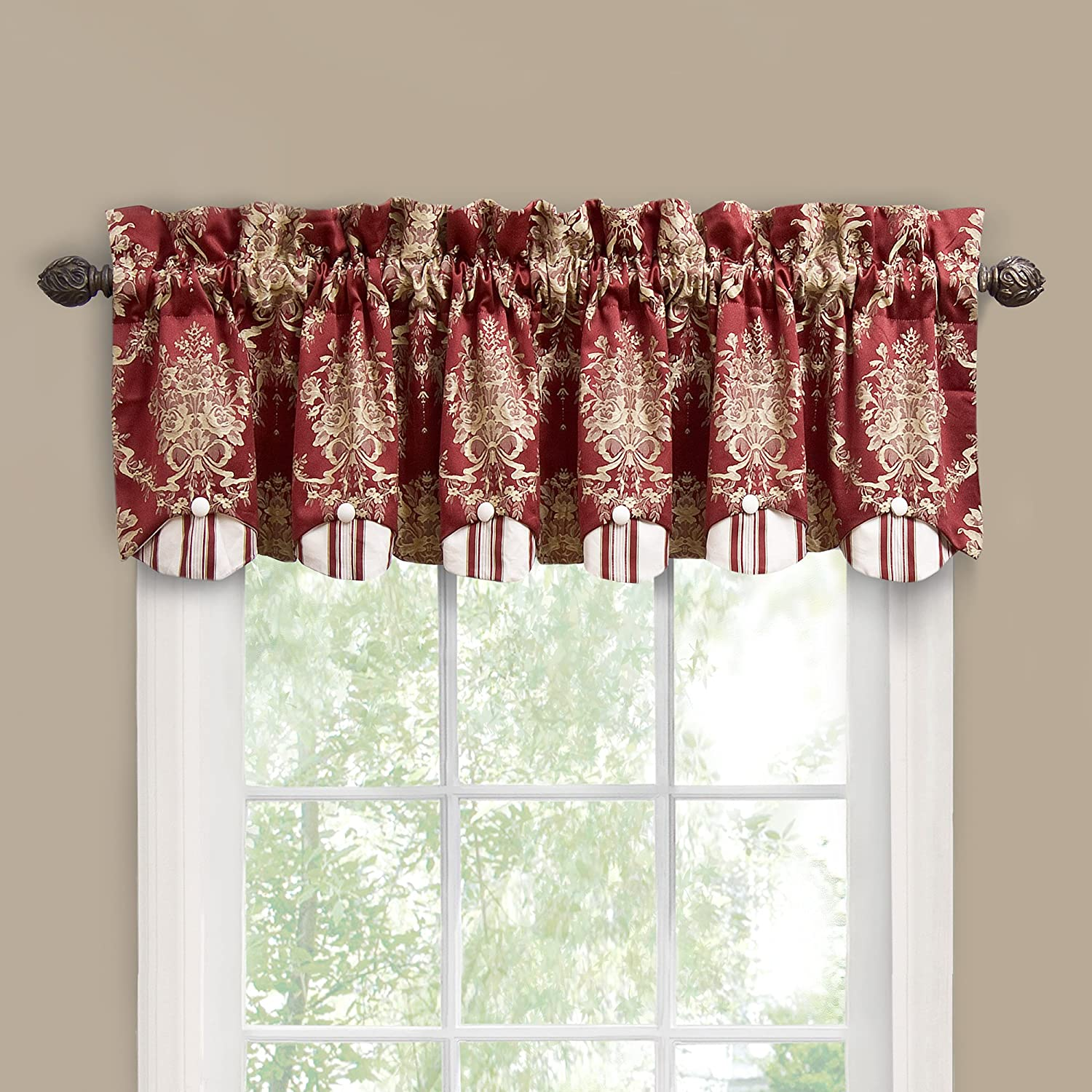 Waverly Rose Momento Window Valance, Merlot , New, Free