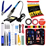 Soldering Iron Kit - Soldering Iron 60 W Adjustable Temperature, Diagonal Wire Cutter, Stand, Soldering Iron Tip Set, Desoldering Pump, Tweezers, Rosin, Bonus Heatshrinks - [110 V, US Plug] (Color: Black and Red, Tamaño: Medium)
