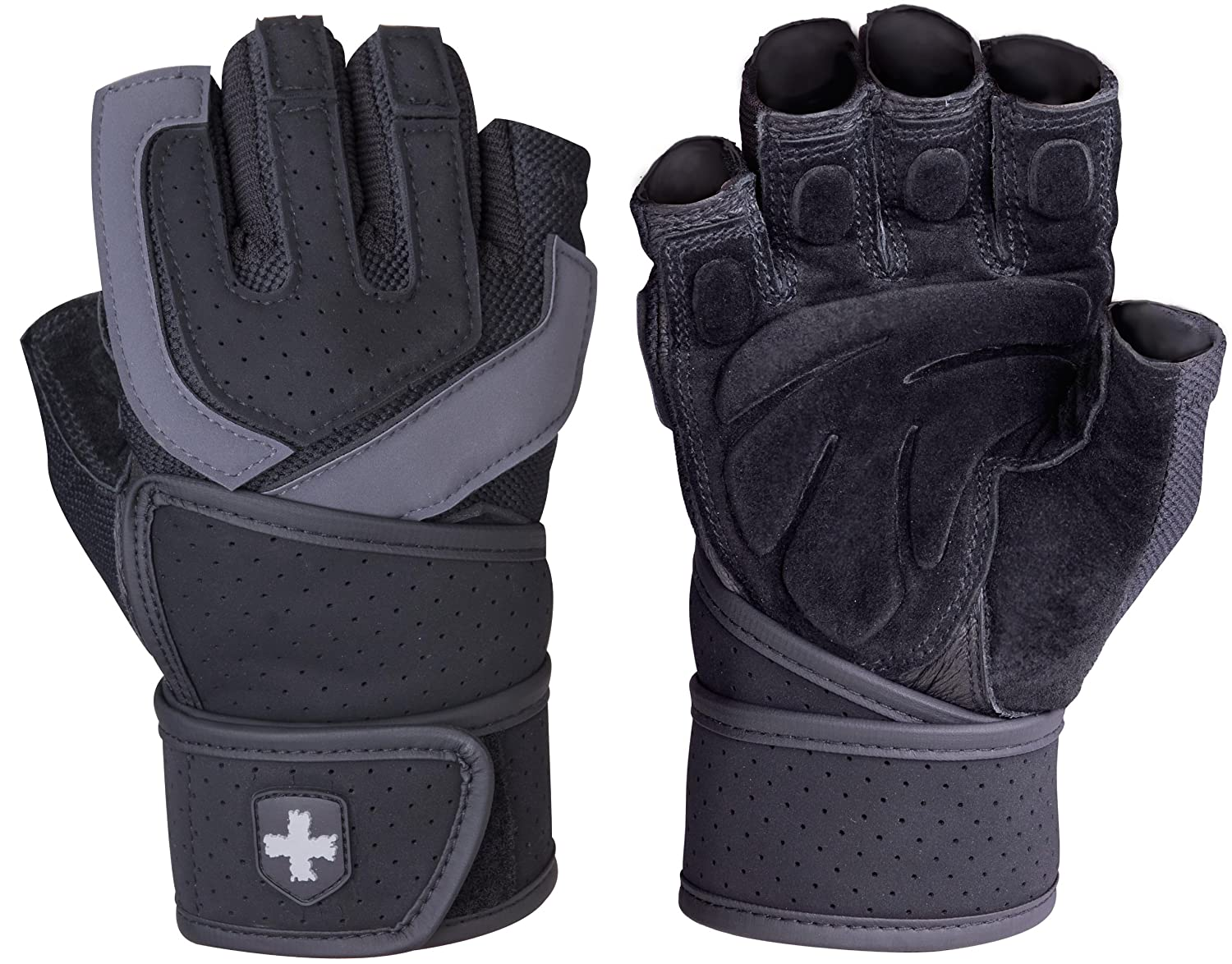 Harbinger 1250 Training Grip WristWrap Glove,Black/Grey перчатки сноубордические marmot lifty glove black slate grey