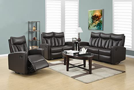 RECLINING - SOFA BROWN BONDED LEATHER / MATCH (SIZE: 74L X 35W X 41H)