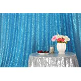 PartyDelight Sequin Backdrop 4FTX6.5Ft Turquoise for Wedding Curtain, Party, Photo Booth. (Color: Turquoise, Tamaño: 4X6.5)