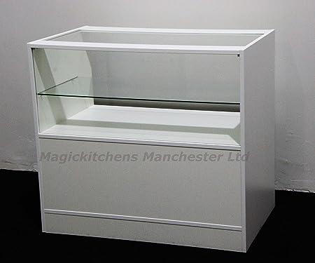 Shop Counter with Glass White Matt /Ref: 0302