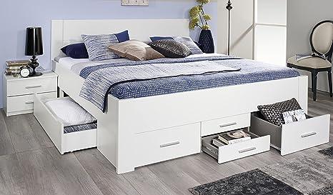 Rauch Bett mit 6 Schubkästen alpinweiß 160 x 200 cm Schubladenbett Funktionsbett