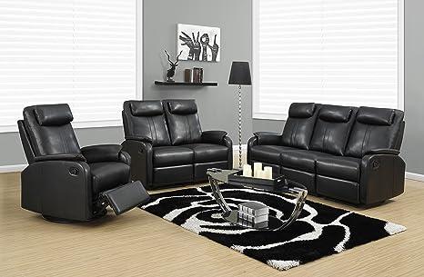 RECLINING - LOVE SEAT BLACK BONDED LEATHER / MATCH (SIZE: 50L X 35W X 41H)