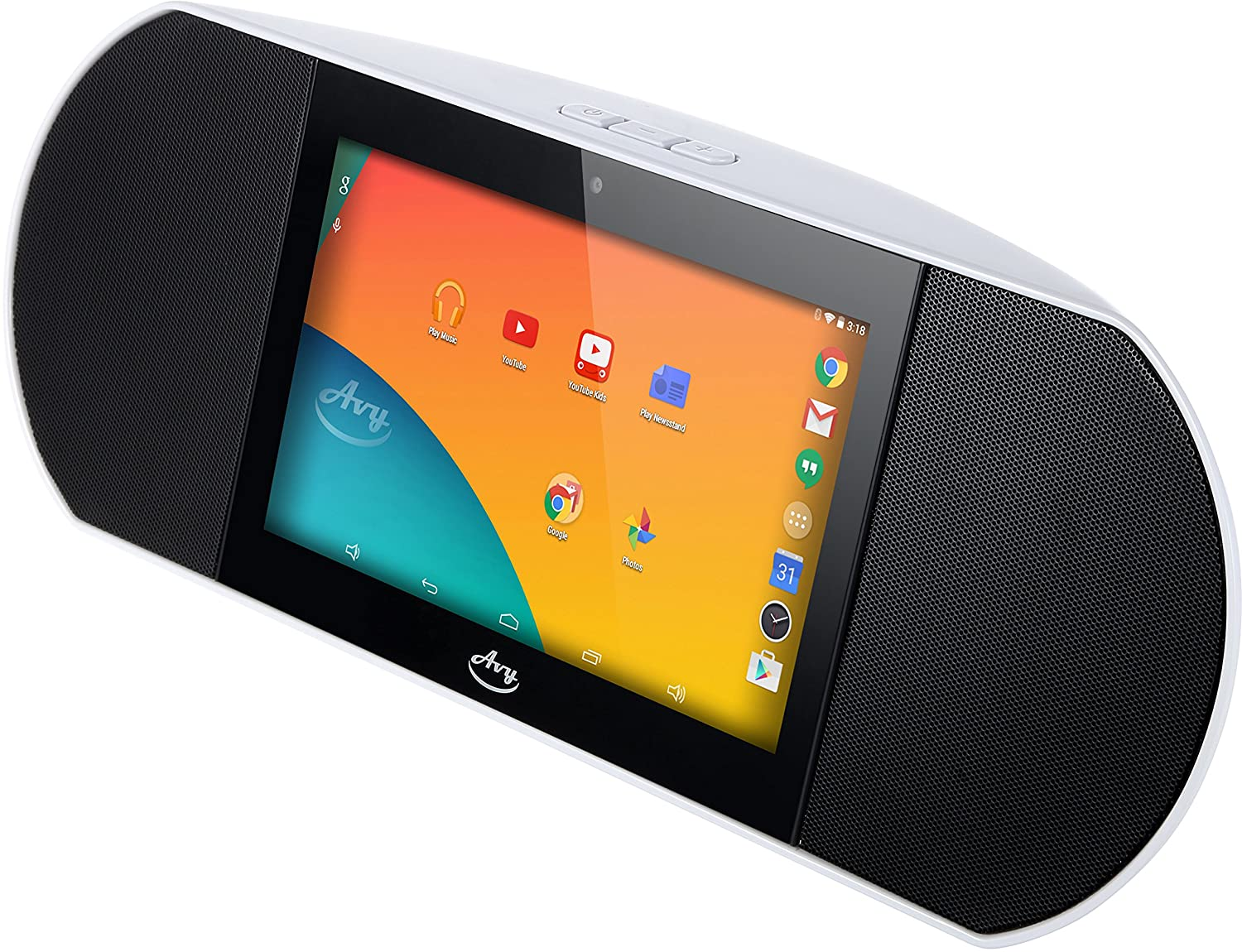 Zettaly Avy Wireless Smart Speaker (White), WiFi Internet Radio Powered By Android 4.4 Kitkat with Built-in 7 Inch Quad Core Tablet and Google Play