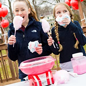The Candery Cotton Candy Machine - Bright, Colorful Style- Makes Hard Candy, Sugar Free Candy, Sugar Floss, Homemade Sweets for Birthday Parties - Includes 10 Candy Cones & Scooper (Color: Red, Tamaño: Machine)