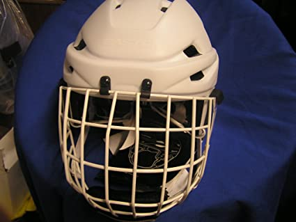 White Helmet White Cage Helmet With Cage White