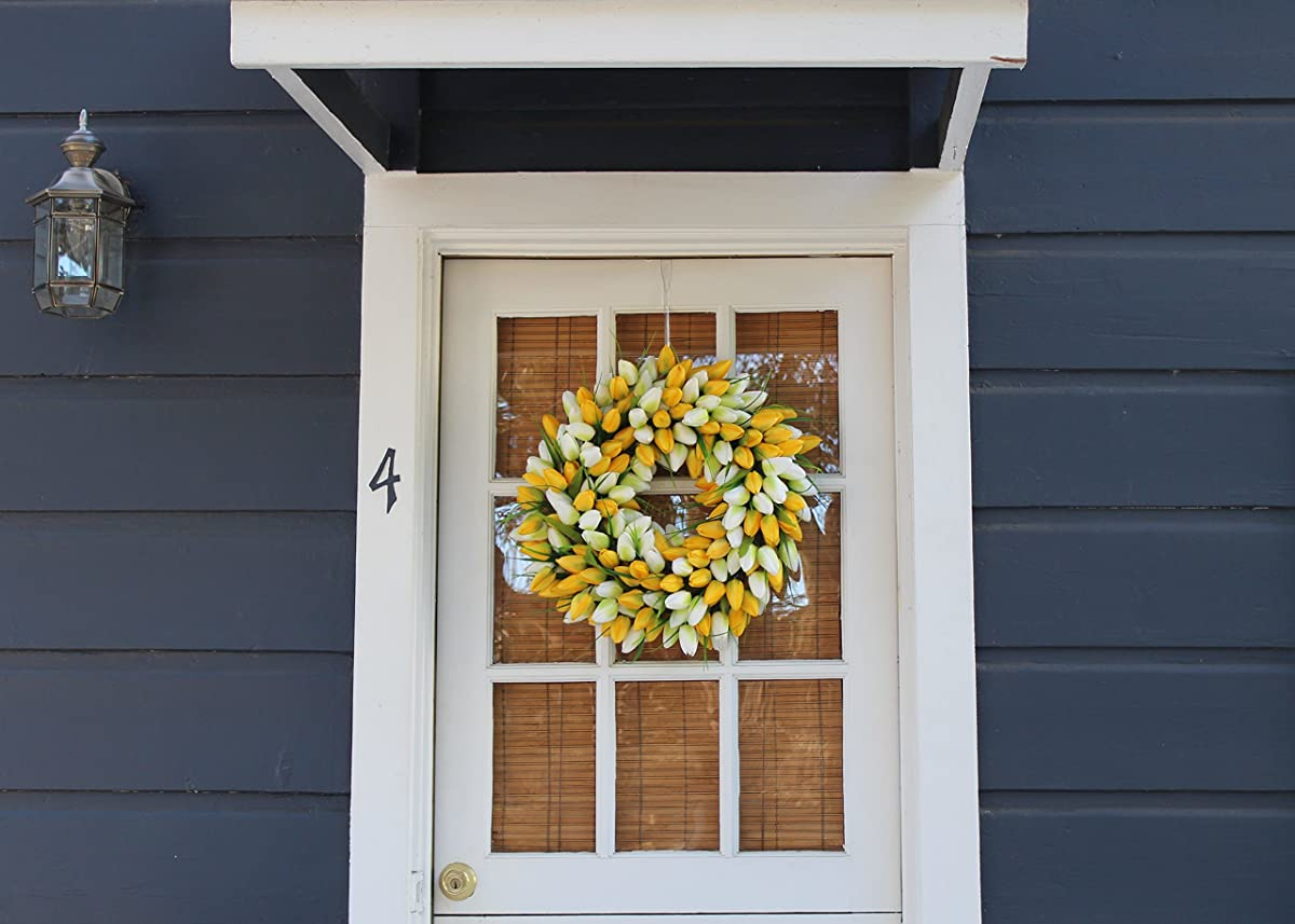 Yellow And White Tulip Spring Door Wreath 19 Inch- Stunning Silk Front Door Wreath For Spring And Easter Wreath Display, Extremely Full Design, Beautiful White Gift Box Included