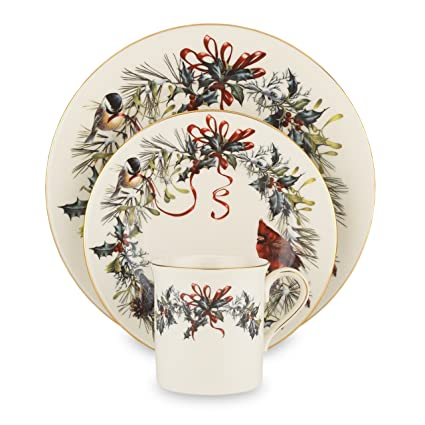 Lenox Winter Greetings 12-Piece 24k Gold-Banded China Dinnerware Set with a Design of Garden Birds, Red and Gold Ribbon and Holly - Service for 4