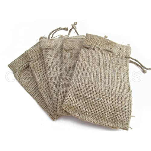CleverDelights 4 x 6 Burlap Bags with Natural Jute Drawstring - 100 Pack - Small Burlap Pouch Sack Favor Bag for Showers Weddings Parties and Receptions - 4x6 inch