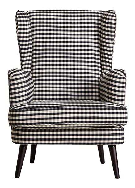 Leader Lifestyle Robin Armchair in A Fabric of Black White and Grey Check, Wood