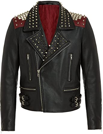 Herren Designer Mode Leder Bikerjacke, Fashion Lederjacke in Schwarz - Rot, Top Qualität, 100% Leather Jacket, Metal Zips - Studs, Men Black Rock Punk Style Leather Jackets fur Männer, S M L XL XXL