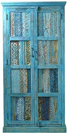 """Sit-Möbel 1264-13 armario """"Blue"""", auténtica madera, piel, 2 puertas, 3 estantes, la última a, 1 sin barra, 80 x 45 x 180 cm"""
