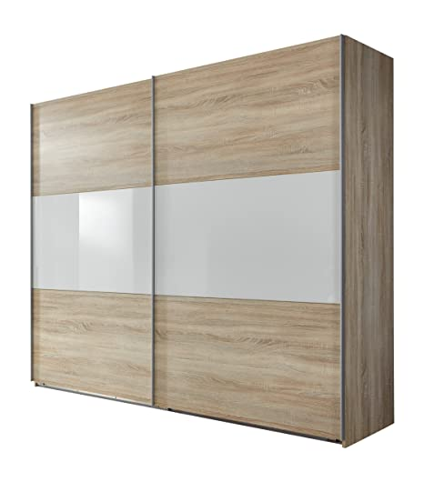 Wimex 960811 Schwebeturenschrank 270 x 236 x 65cm, Front und Korpus Eiche Sägerau Nachbildung / Absetzungen Glas Weiß