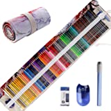 Premier Colored Pencils for Adult Coloring Book, Premium Artist Colored Pencil Set (72-Count), Handmade Canvas Pencil Wrap, Extra Accessories Included, Holiday Gift, Oil based Colored Pencil (Color: 72 colors with Canvas Pencil Wrap (Aesthetic Sunset))