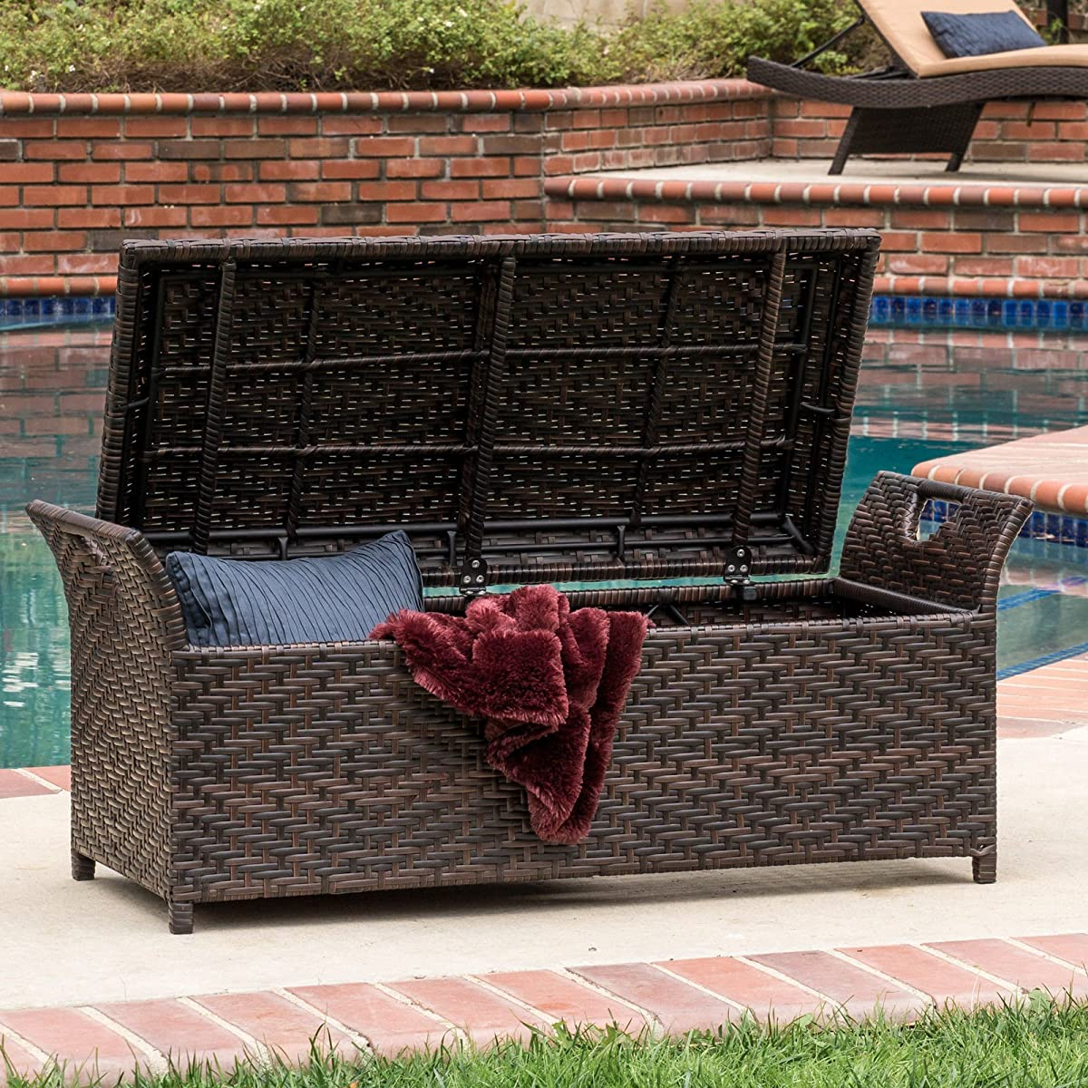 This Outdoor Ottoman Offers Much Storage. The Outdoor Storage Bench Provides an Extra Seating Guaranteed. Lift the Lid of This Amazing Bench to Reveal a Roomy Storage Area for Cushions Gardening Tools