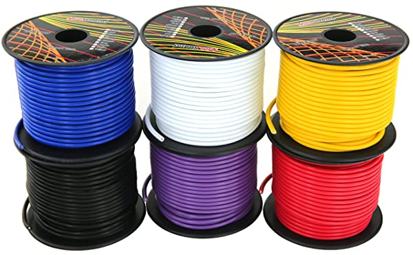 GS Power 14 Gauge 6 Rolls of 100 Feet (600 ft total) Copper Clad Aluminum Low Voltage Primary Wire. For 12V Automotive Harness Car Audio Video Amplifier Remote Trailer Hookup Drone Model Train Wiring (Color: Color Set 1, Tamaño: 14 Gauge)