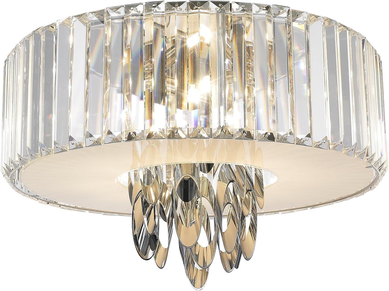 Vivienne Deckenleuchte Ornamenta silver / chrom mit Kristallbehang / Höhe 28 cm, ø 46 cm / 4 x G9 / max. 42W / inklusive Leuchtmittel / Stilrichtung Modern 390490