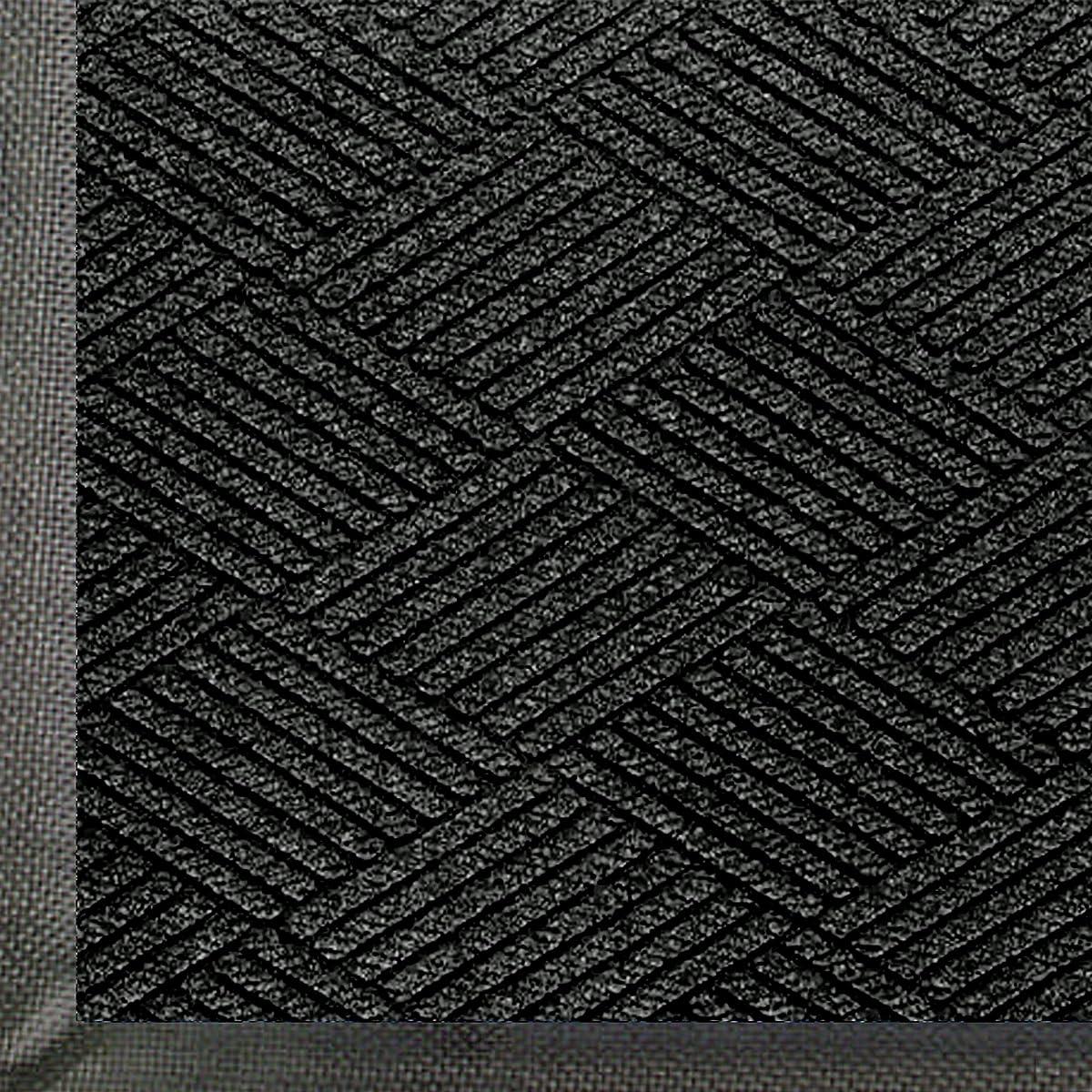 """Andersen 2295 WaterHog Eco Premier PET Polyester Fiber Entrance Indoor/Outdoor Floor Mat, SBR Rubber Backing, 3 Length x 2 Width, 3/8"""" Thick, Black Smoke"""