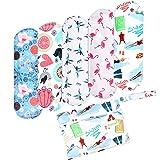 Wegreeco Bamboo Reusable Sanitary Pads (New Pattern) - Cloth Sanitary Pads, Cloth Pads, Reusable Menstrual Pads - 5 Pack Pads, 1 Cloth Mini Wet Bag Bonus (Large, Dynamic) (Color: Dynamic, Tamaño: Large)