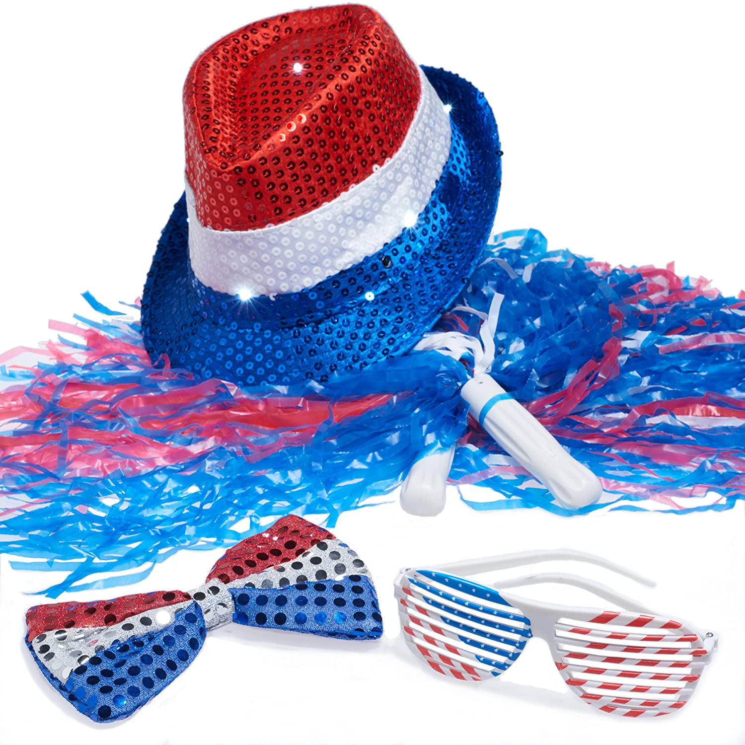 4th of July Set, Patriotic Sequin Blinking Hat, 4th of July Shutter Shade Glasses, Patriotic Bow Tie, Patriotic Color Pom Poms 4th july america flag style stripe pettiskirt white ruffle tank top 2pc set 1 8year mamg1143