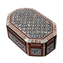Egyptian Mosaic Jewelry Trinket Box Mother of Pearl