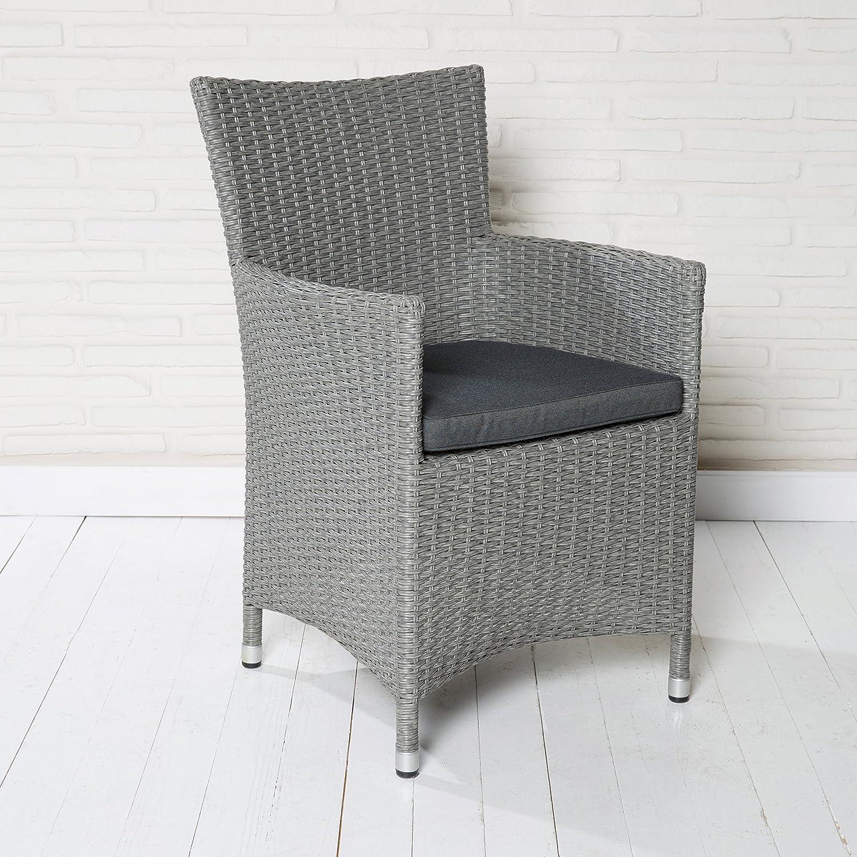 4er Set Gartenstuhl Gartensessel hellgrau Rattanoptik mit Sitzkissen Gartenmöbel online bestellen