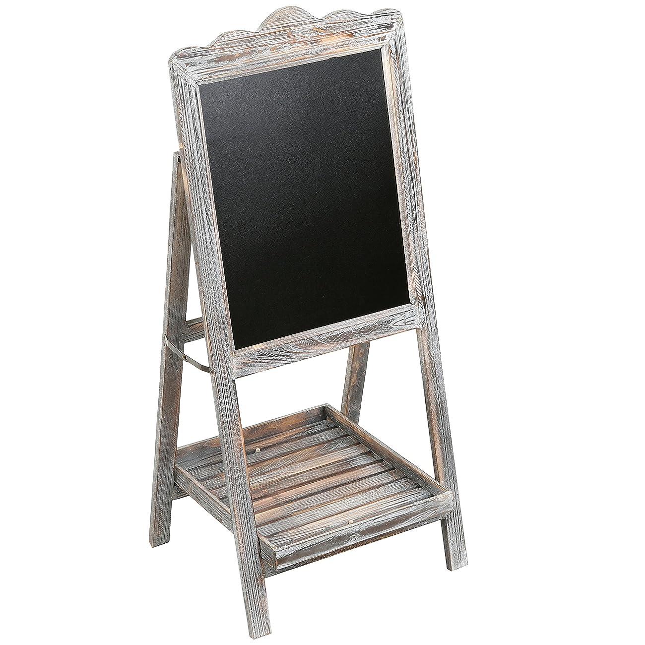 MyGift Torched Wood Chalkboard Easel, Freestanding Vintage Sign Blackboard, Brown 3