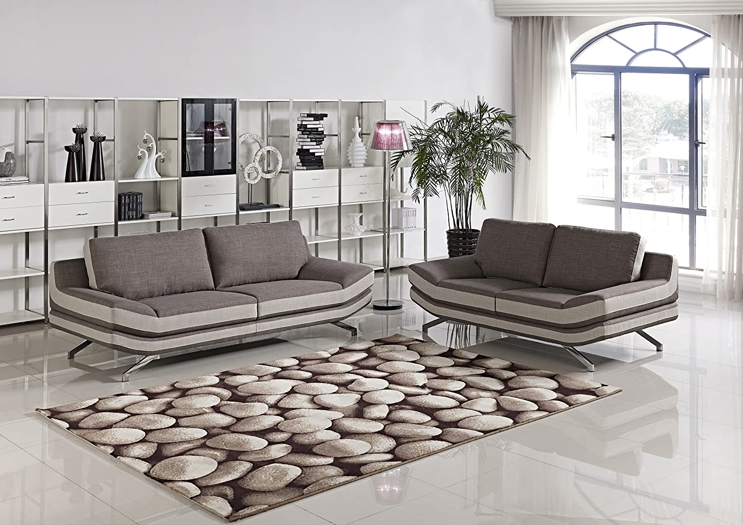 Cyna Cappuccino with Beige Linen Fabric 2-piece Sofa and Loveseat Set