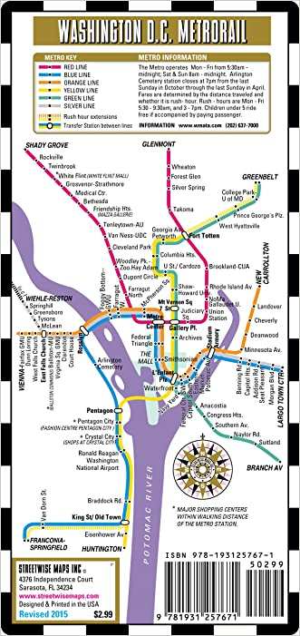Streetwise Washington DC Metro Map - Laminated Washington DC Metrorail & Mall Map - Pocket Size