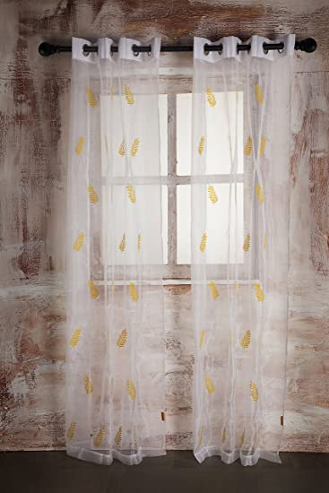 Buy SHEER CURTAIN WHITE LEAF EMBROIDERY - DOOR Online at Low ...