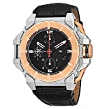 Snyper 'One M Bicolor' Stainless Steel Chronograph Automatic Watches For Men Swiss Made - 43mm Analog Black Face with Day Date Sapphire Crystal Mens Rose Gold Black Leather Band Watch 10.450.00