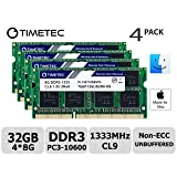 Timetec Hynix IC 32GB KIT(4x8GB) Compatible for Apple 27 inch Mid 2010 21.5/27 inch Mid 2011 iMac DDR3 1333MHz PC3-10600 CL9 204 Pin SODIMM Upgrade for iMac 11,3 iMac 12,1 iMac 12, 2 (32GB KIT(4x8GB)) (Tamaño: 32GB KIT(4x8GB))