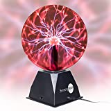 "SensoryMoon True 8"" Plasma Ball Lamp – Large Electric Globe Static Light w Touch, Sound Sensitive Lightning, Big 8 Inch Glass Sphere and Mini Tesla Energy Coil is Best Science Toy Nightlight for Kids (Color: Black)"