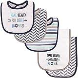 Luvable Friends Bib and Burp Cloth Set, Thank Heaven for Boys