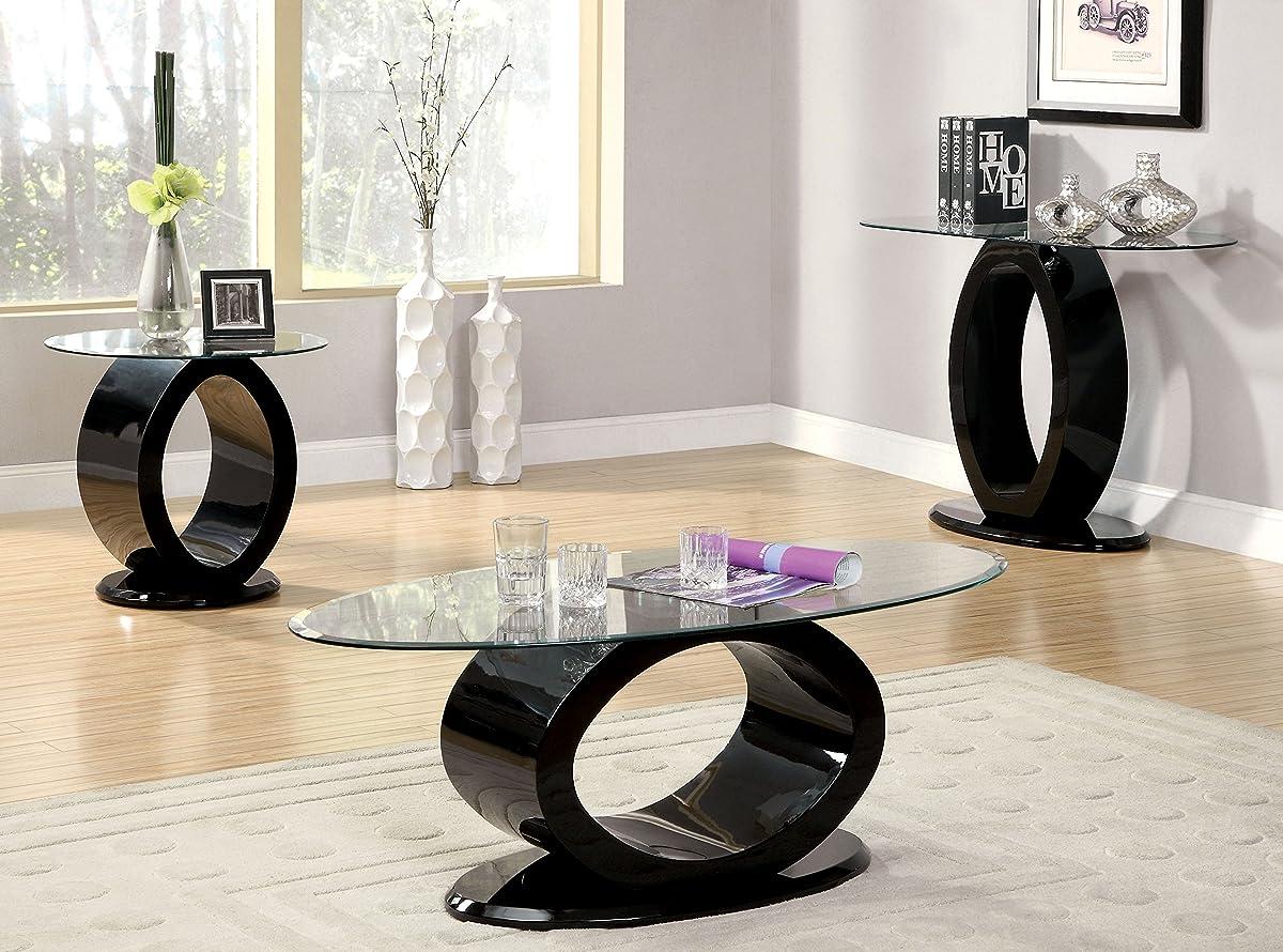 Furniture of America Modine Contemporary Glass Top End Table, Black