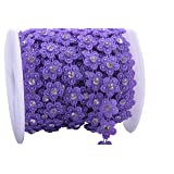 KAOYOO 10 Yards New Flower Shaped with Rhinestone Chain Sew On Trims Wedding Dress Beaded Trim (Color: Purple)