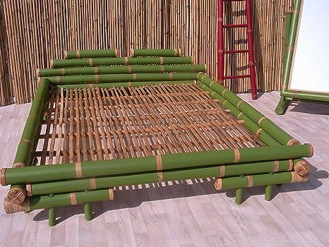 Bambusbett Designerbett Doppelbett Ehebett Naturbett Gästebett Diang grun alle Größen (180 x 200 cm)
