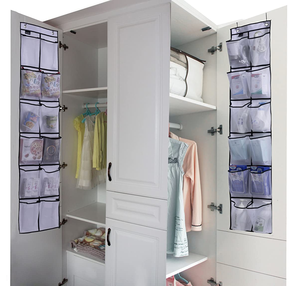 Misslo Over The Door Shoe Organizer 12 Large Mesh Pockets Hanging Narrow Closet Door, White, 2 Pack