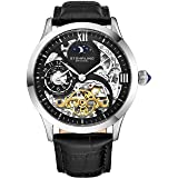 Stührling Original Mens Stainless Steel Automatic Watch, Black Skeleton Dial, Dual Time, AM/PM Sun Moon, Black Leather Band, 571 Series (Color: Black)
