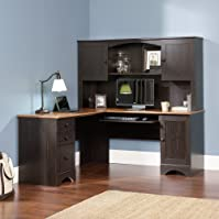 Sauder Office Furniture Harbor View L-Desk with Hutch and Reversible Storage, Cherry/Antique Black