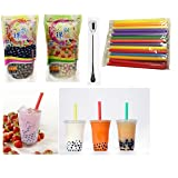 Wufuyuan - Black Tapioca Pearl 8.8 Oz + Wufuyuan - Multi color Tapioca Pearl 8.8 Oz + 50 Extra wide Fat Boba Drinking Straw + One NineChef Spoon Per Order