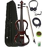 Barcelona 4/4-Size Electric Violin - Violinburst Bundle with Case, Bow, Rosin, Headphones, Cable, and Battery Sunburst (Color: Sunburst)